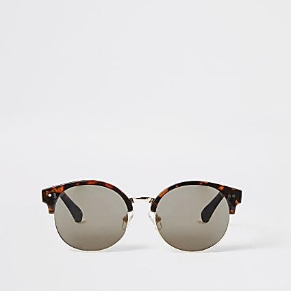 Girls brown tortoiseshell round sunglasses