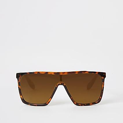 Girls brown tortoiseshell visor sunglasses