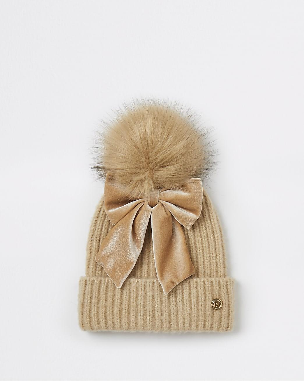 Girls brown velvet bow pom pom beanie hat