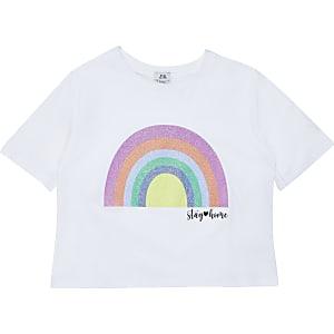 Liefdadigheids-T-shirt met regenboogprint voor meisjes