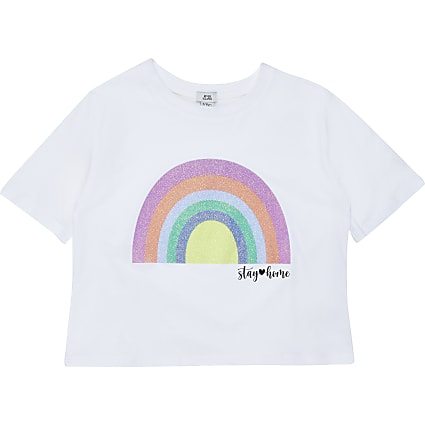 Girls Charity Tee Rainbow Print