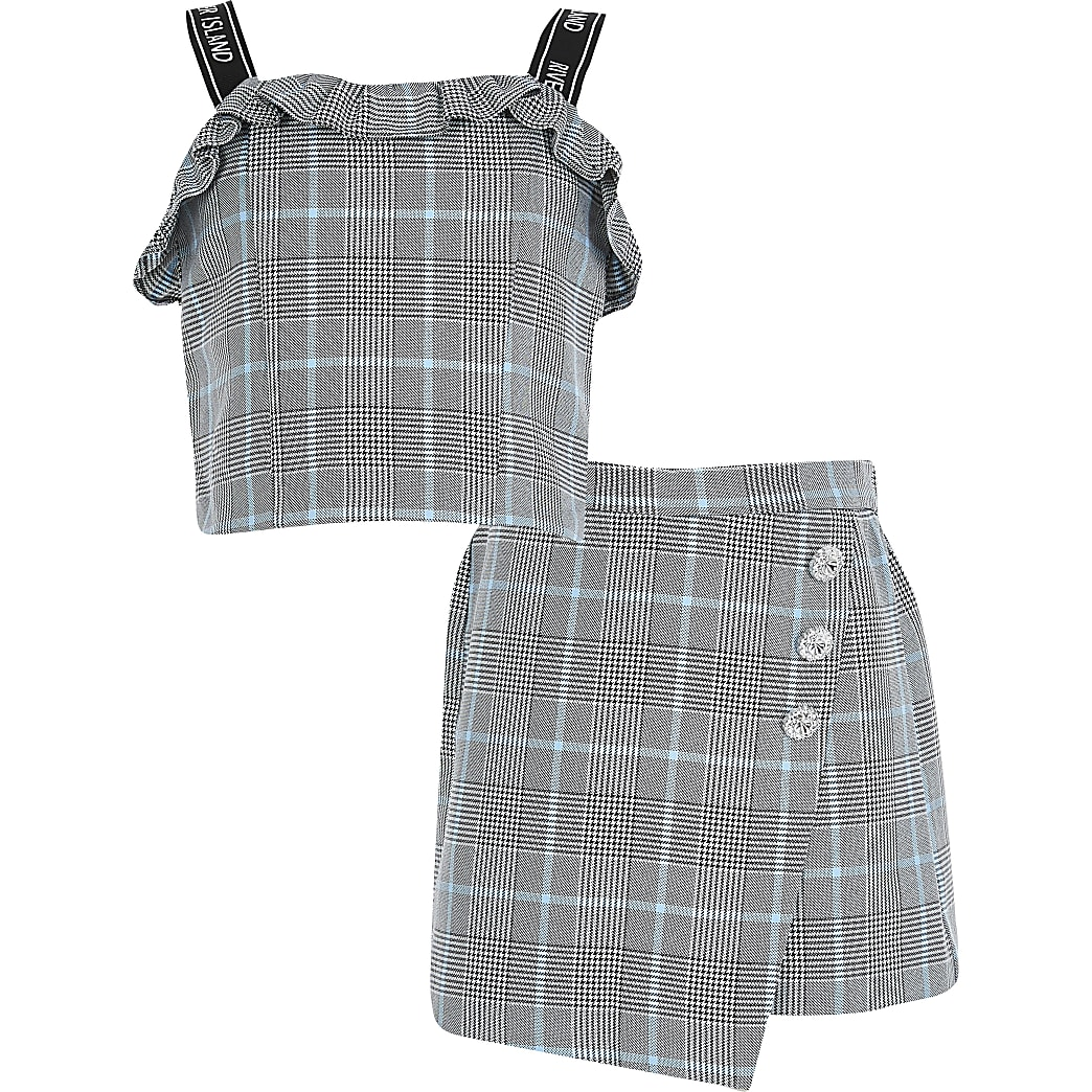 Girls check frill crop skorts outfit