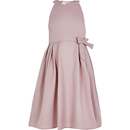 Girls Chi Chi pink bow scallop back dress