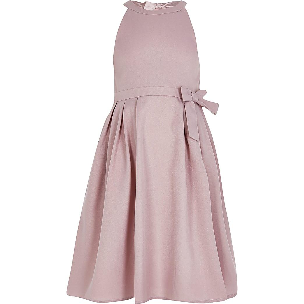 Girls Chi Chi pink bow scallop back dress