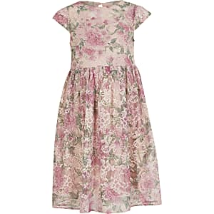 ChiChi- Robe fleurie rose en dentelle pour fille