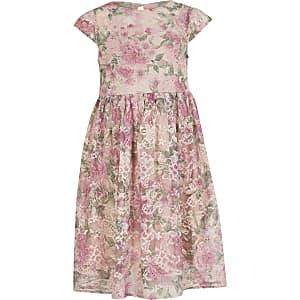 Chi Chi - Roze kanten  jurk met bloemenprint voor meisjes