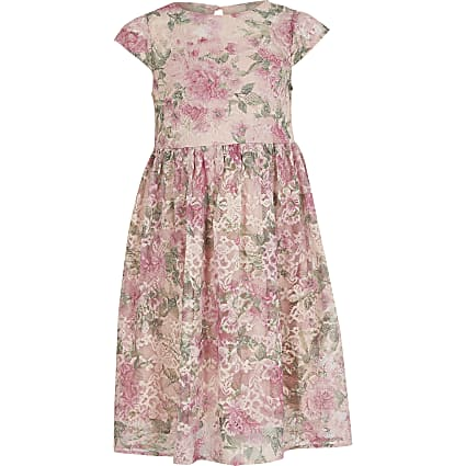 Girls Chi Chi pink floral lace dress