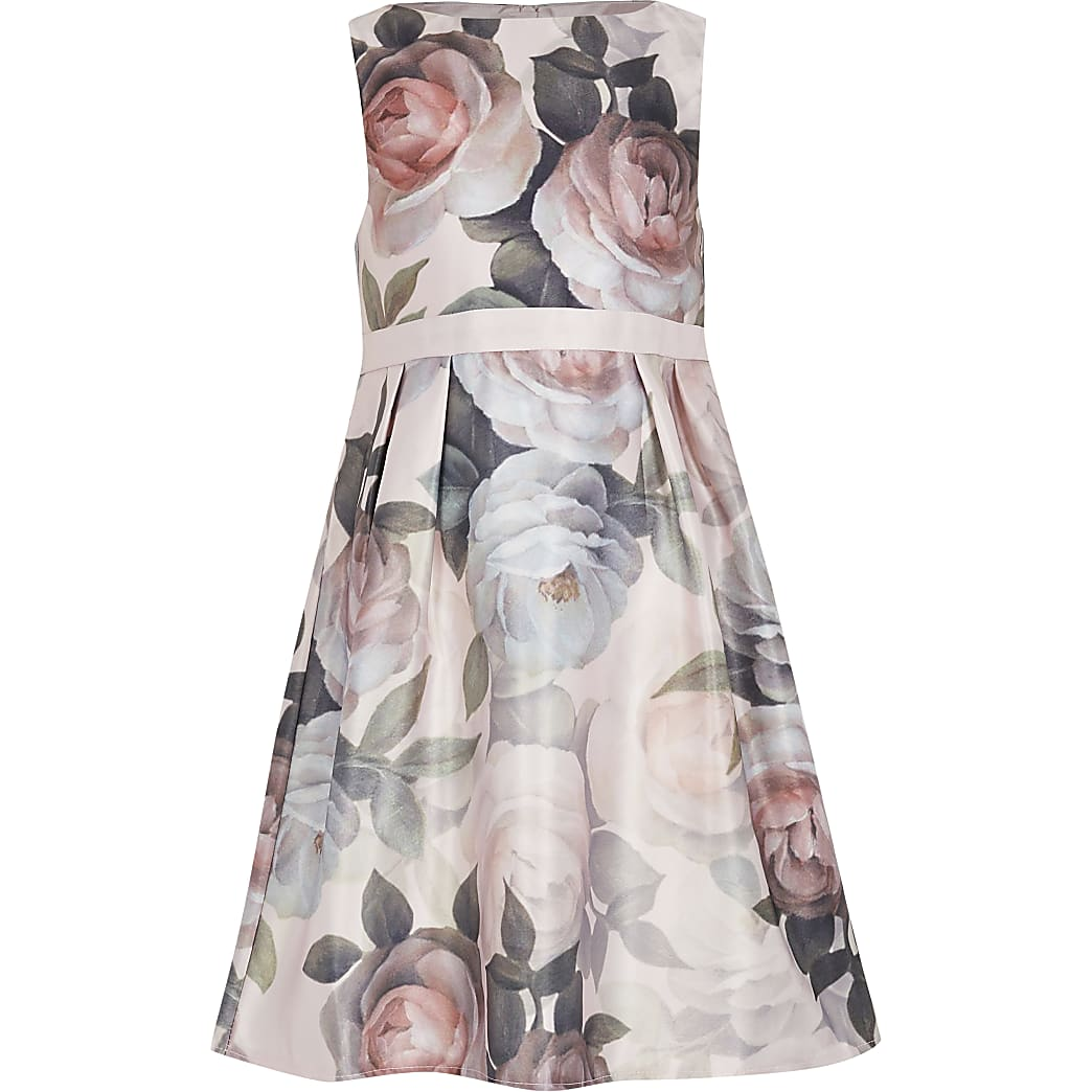 Girls Chi Chi pink floral satin skater dress