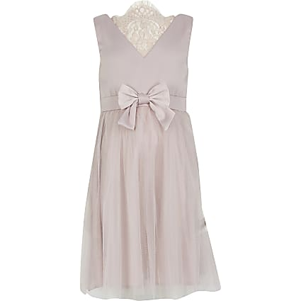Girls Chi Chi pink lace back tulle dress