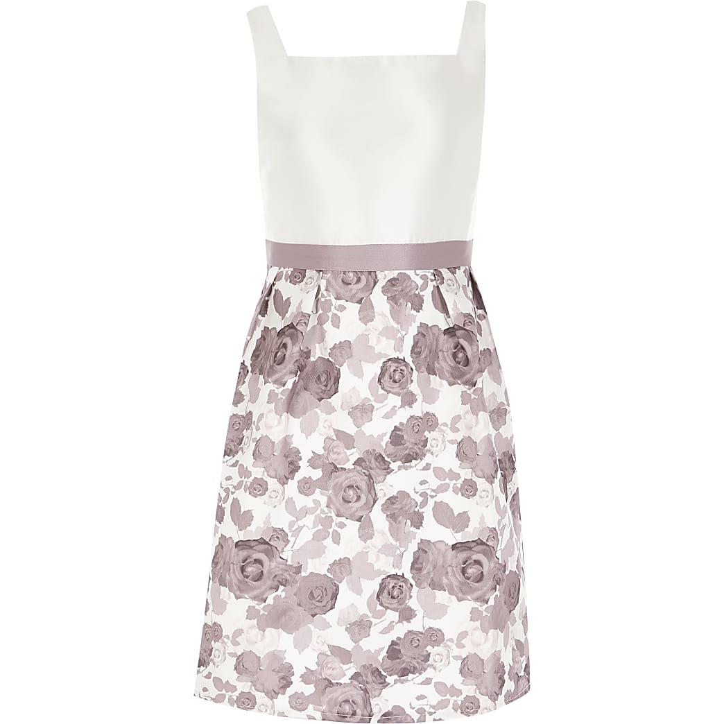 Girls Chi Chi purple floral skirt dress