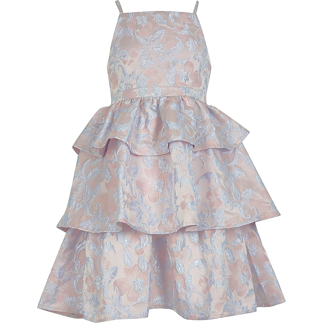 Girls Chi Chi tiered jacquard dress