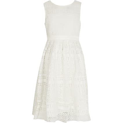 Girls Chi Chi white crochet tie back dress