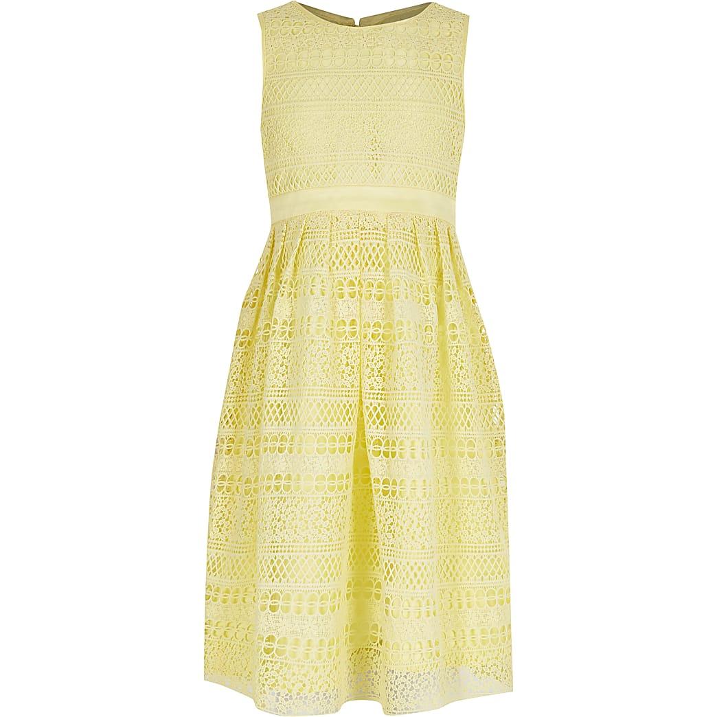 Girls Chi Chi yellow crochet lace dress