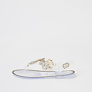 Girls clear diamante embellished sandals
