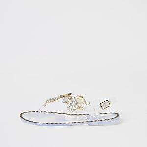 Sandales transparentes ornées de strass pour fille