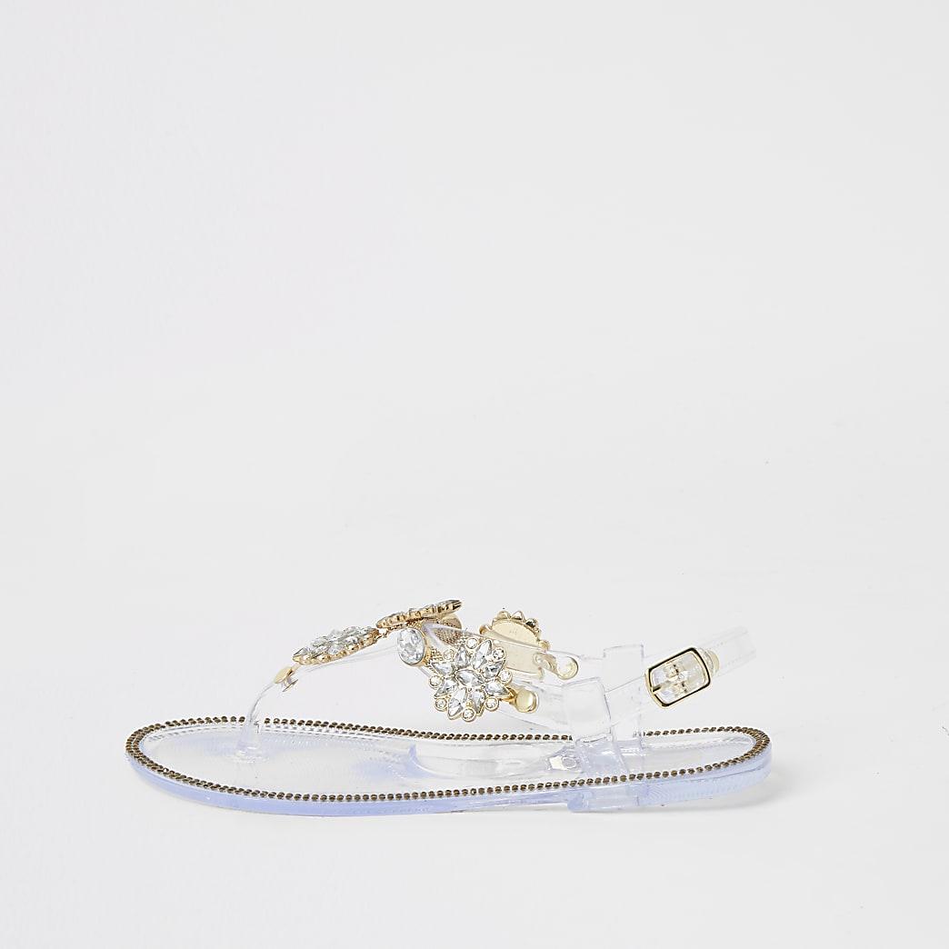 Transparante sandalen verfraaid met siersteentjes voor meisjes