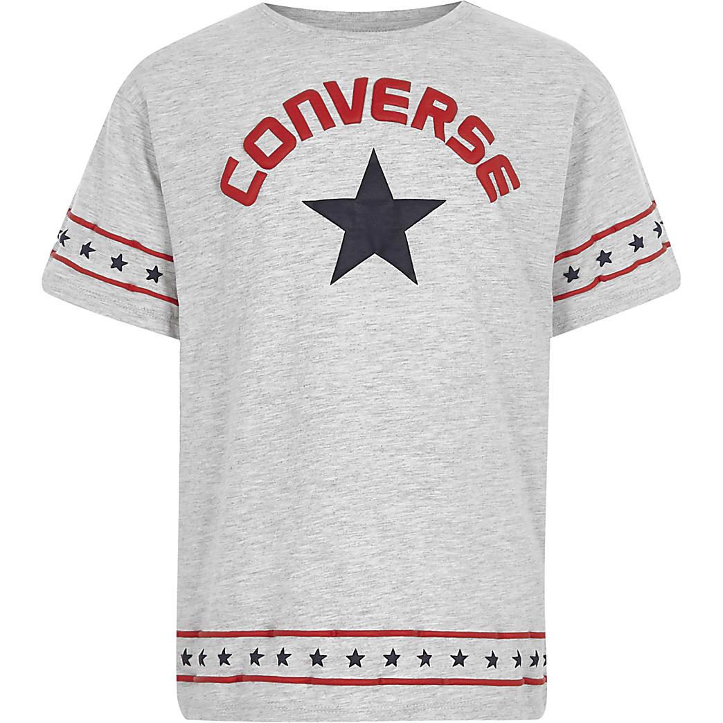 Converse – T-shirt gris bordé d'étoiles pour fille