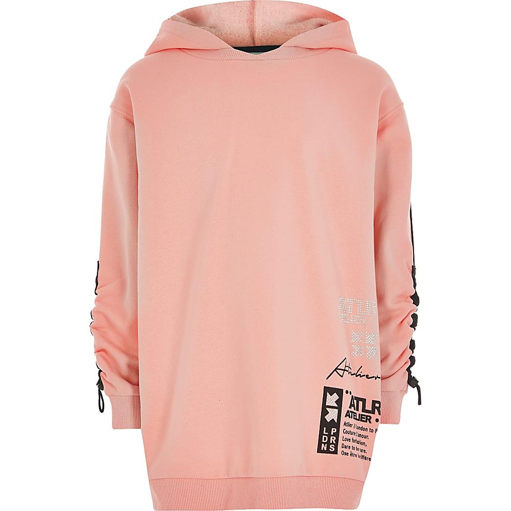 Girls coral 'ATLR' print oversized hoodie