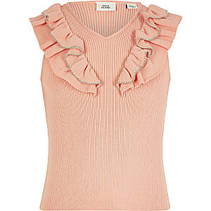 Girls coral beaded frill knitted top