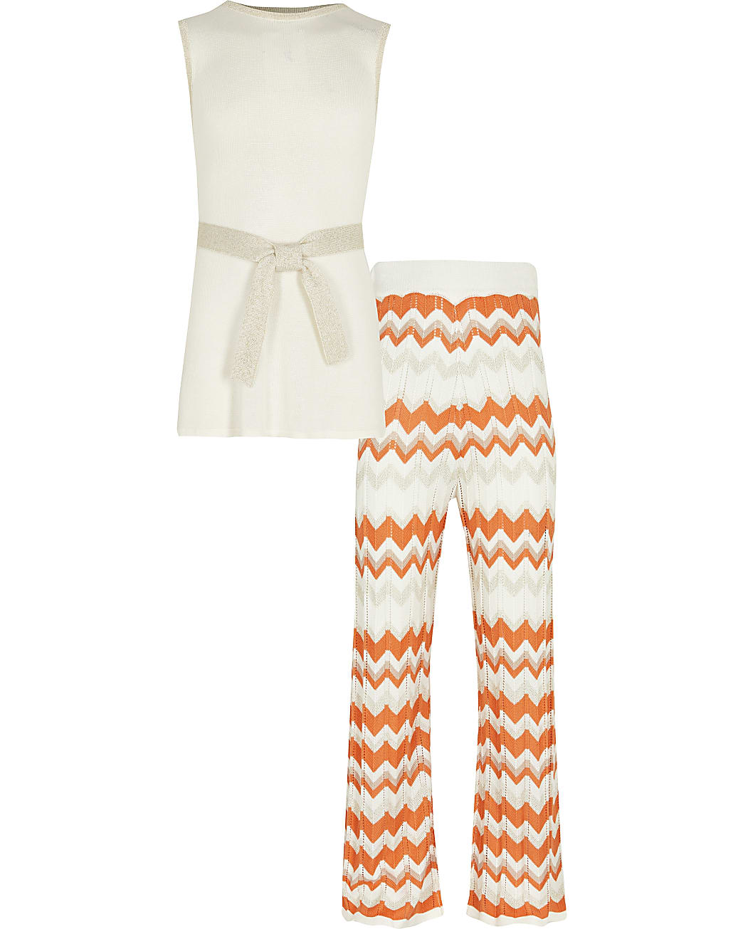 Girls coral chevron tunic trouser outfit