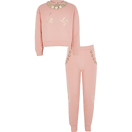 Girls coral embellish neck sweatshirt outfit