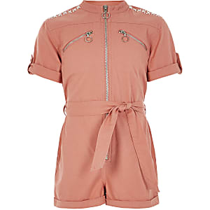 Girls coral embellished utility playsuit
