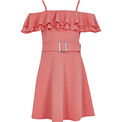 Girls coral lace skater dress