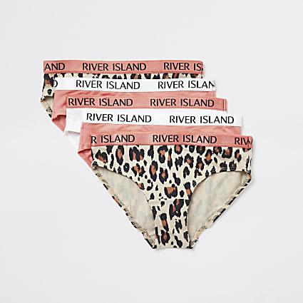 Girls coral leopard print RI briefs 5 pack