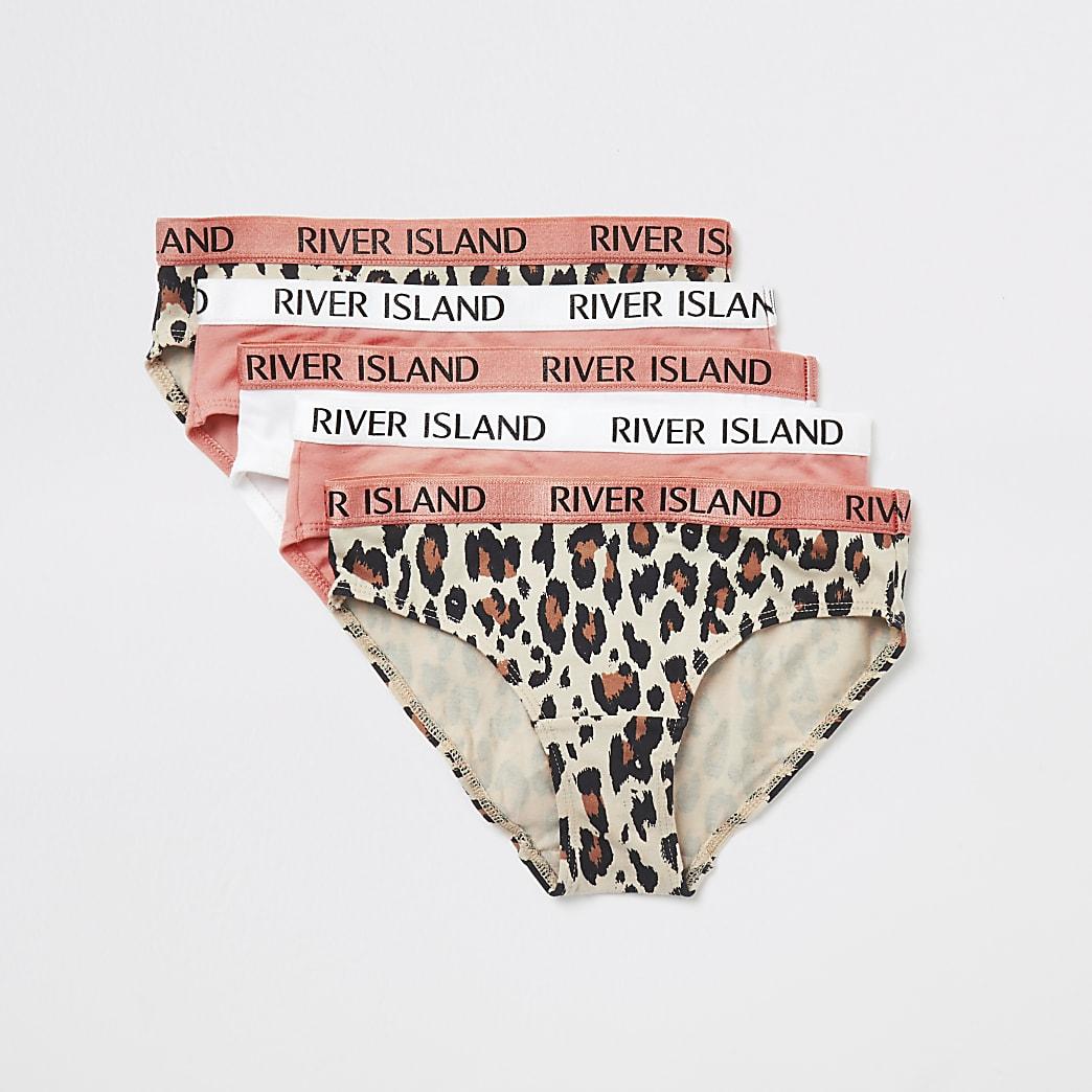 Set van 5 koraalkleurige slipjes met luipaardprint en RI-band voor meisjes