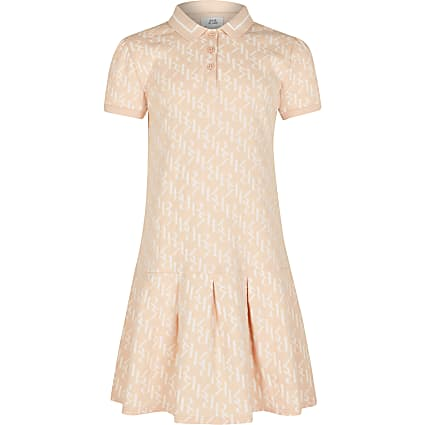 Girls coral logo polo dress