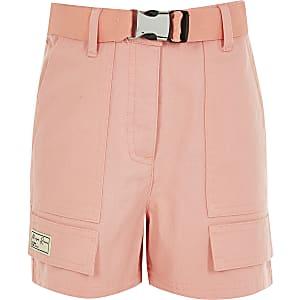 Maison Riviera - Koraalkleurige utility-short voor meisjes