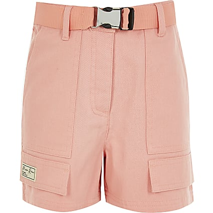 Girls coral Maison Riviera utility shorts