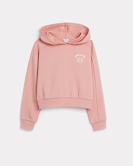 Girls coral RI chest embroidered hoodie