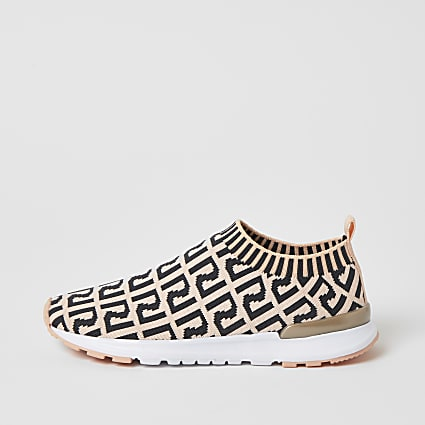 Girls coral RI monogram knitted trainers