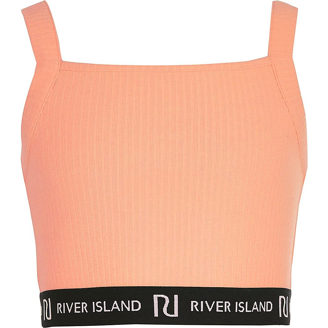 Koraalrode RI crop top met rechthoekige hals voor meisjes