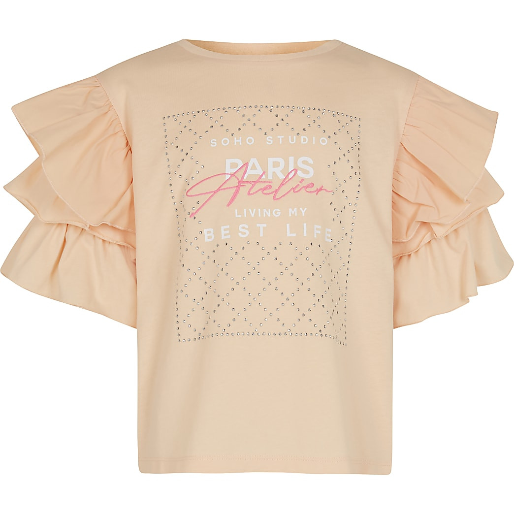 Girls coral ruffle diamante t-shirt
