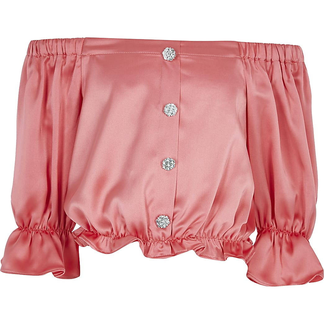 Girls coral satin bardot top