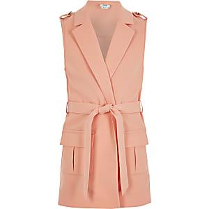 Girls coral sleeveless tie belted blazer