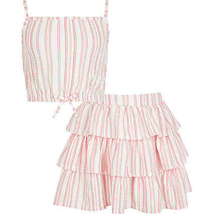 Girls coral stripe cami top outfit