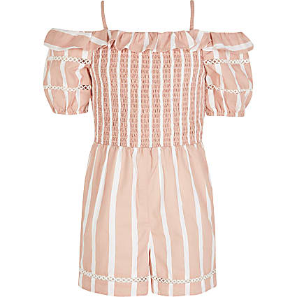 Girls coral stripe frill bardot playsuit