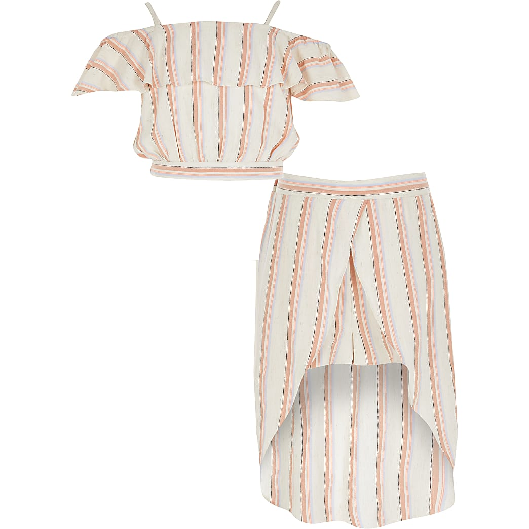 Girls coral stripe frill crop top outfit