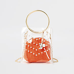 Girls Coral Vinyl Pearl Stud Boxy Tote