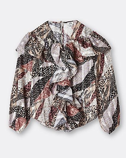 Girls cream animal print frill blouse top