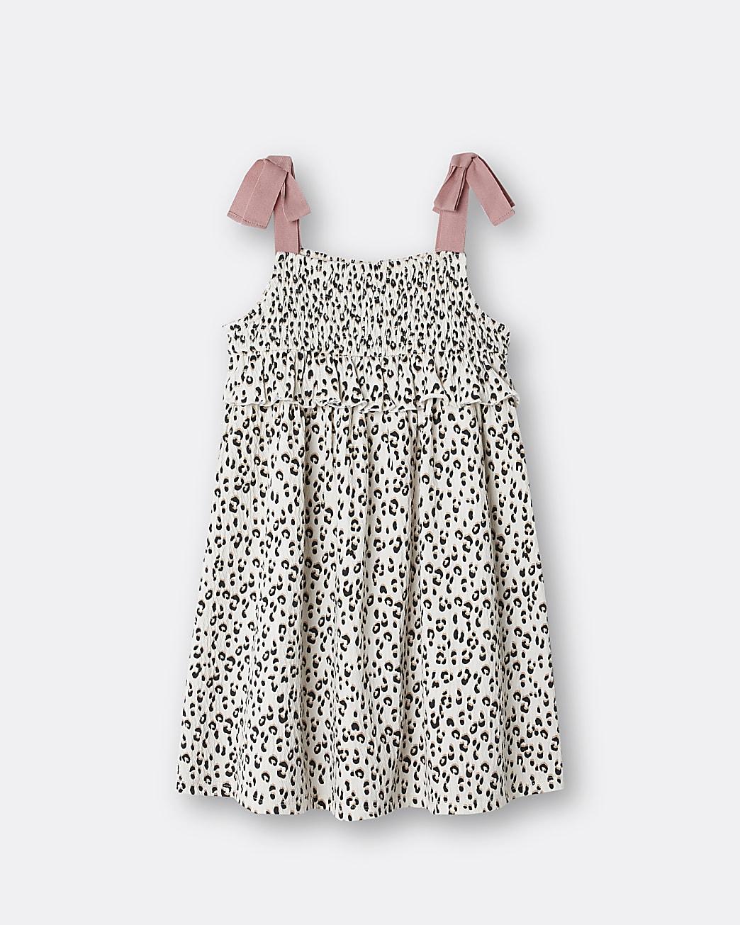 Girls cream animal print frill dress