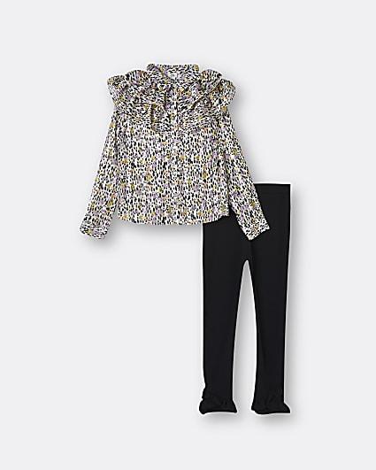 Girls cream animal print shirt and leggings