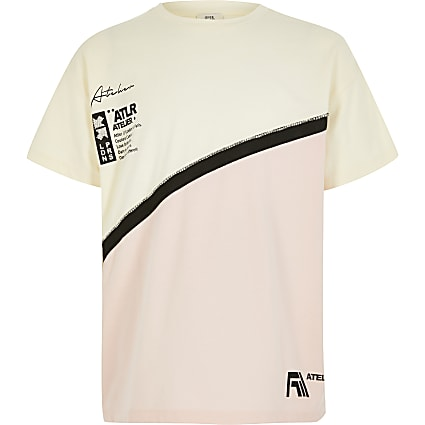 Girls cream ATLR colour blocked T-shirt