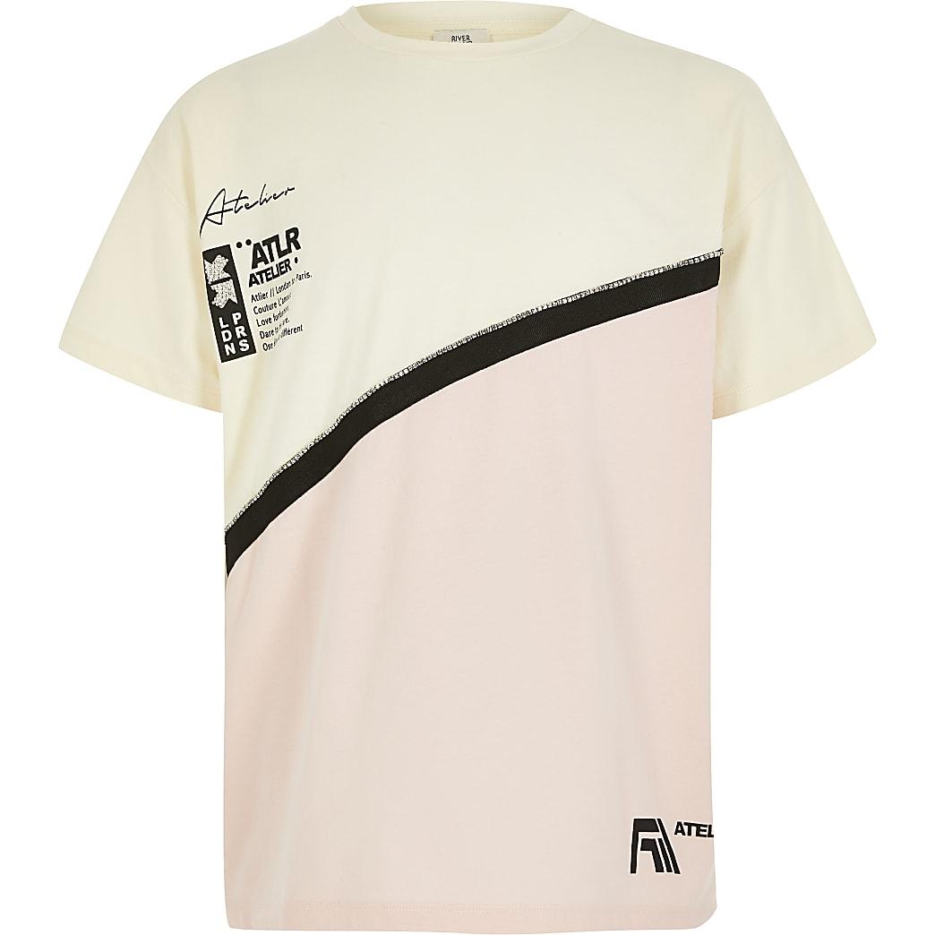 Crèmekleurig T-shirt met ATLR-tekst en kleurvlakken voor meisjes