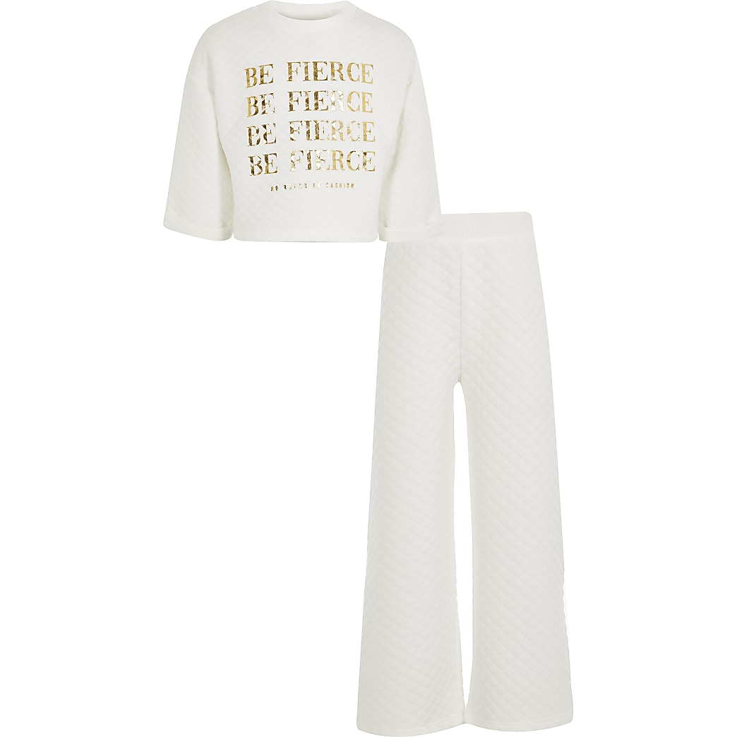 Girls cream 'Be fierce' quilted outfit