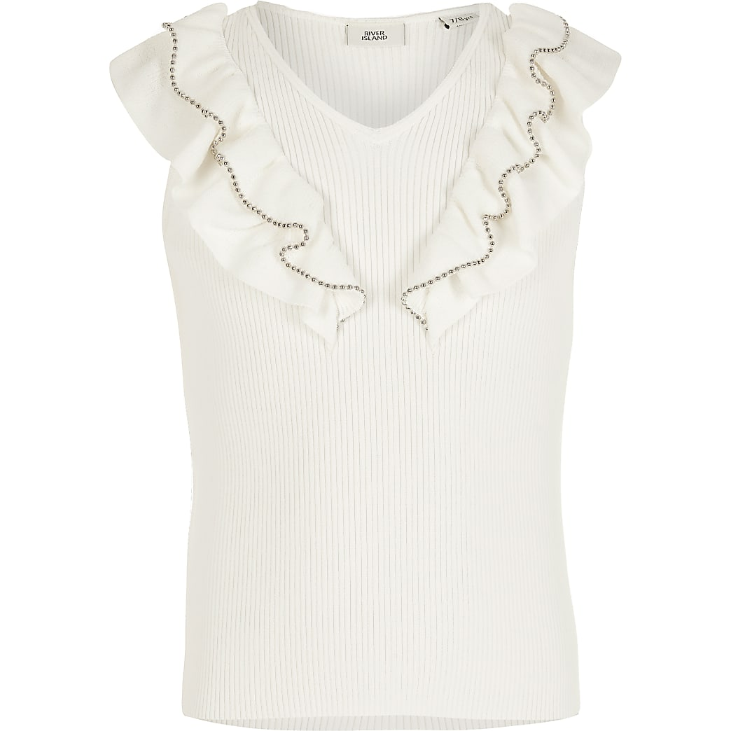 Girls cream beaded frill knitted top