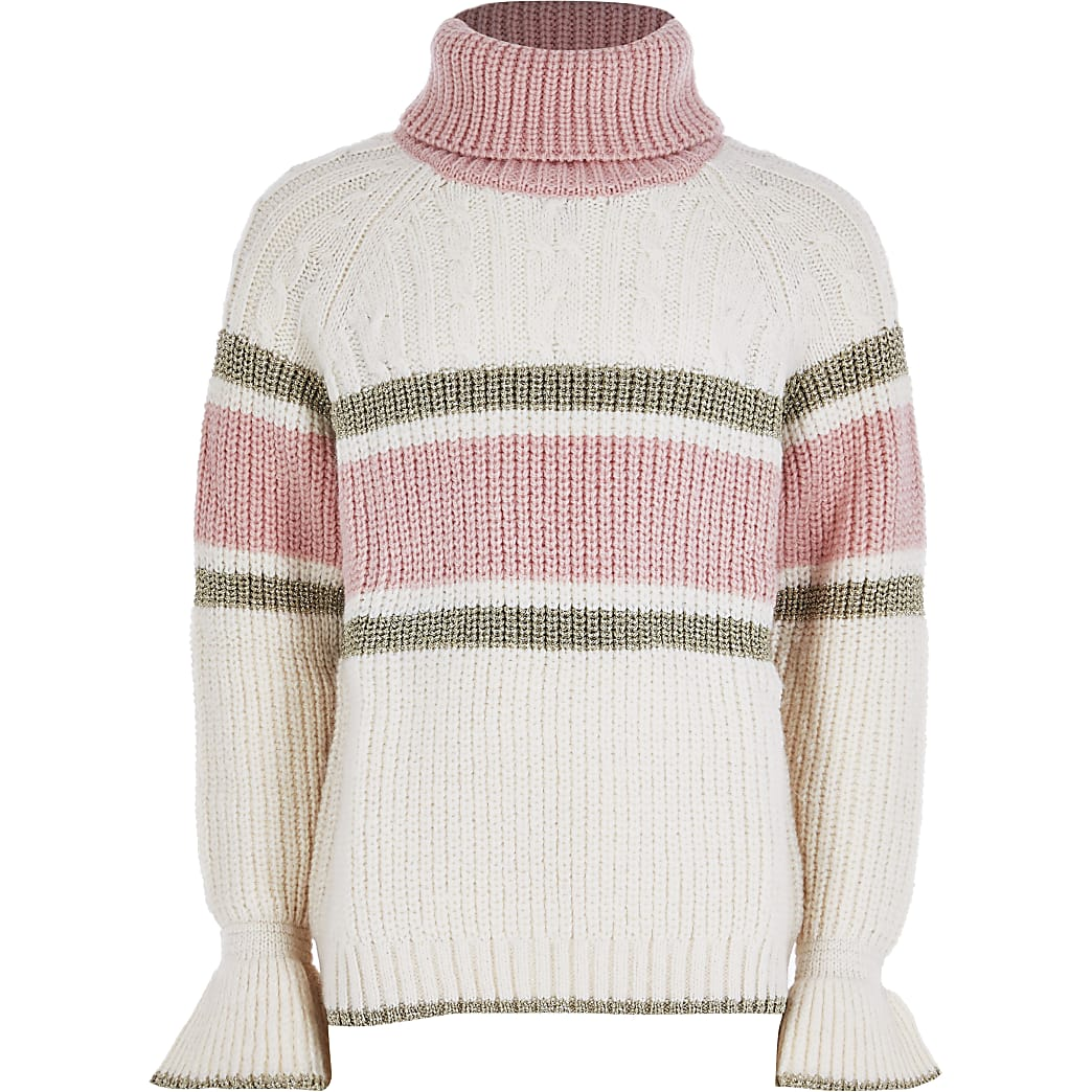 Girls cream block cable knit jumper